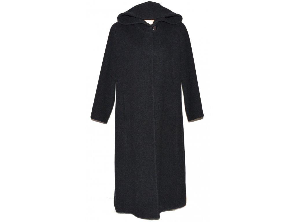 Vlněný (70%) dámský dlouhý šedočerný kabát s kapucí MAKYTA 50