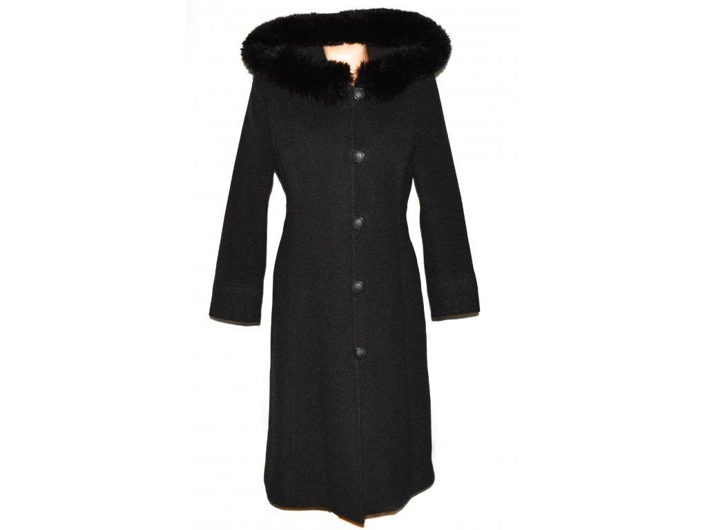 Vlněný dámský šedý dlouhý zateplený kabát s kapucí M
