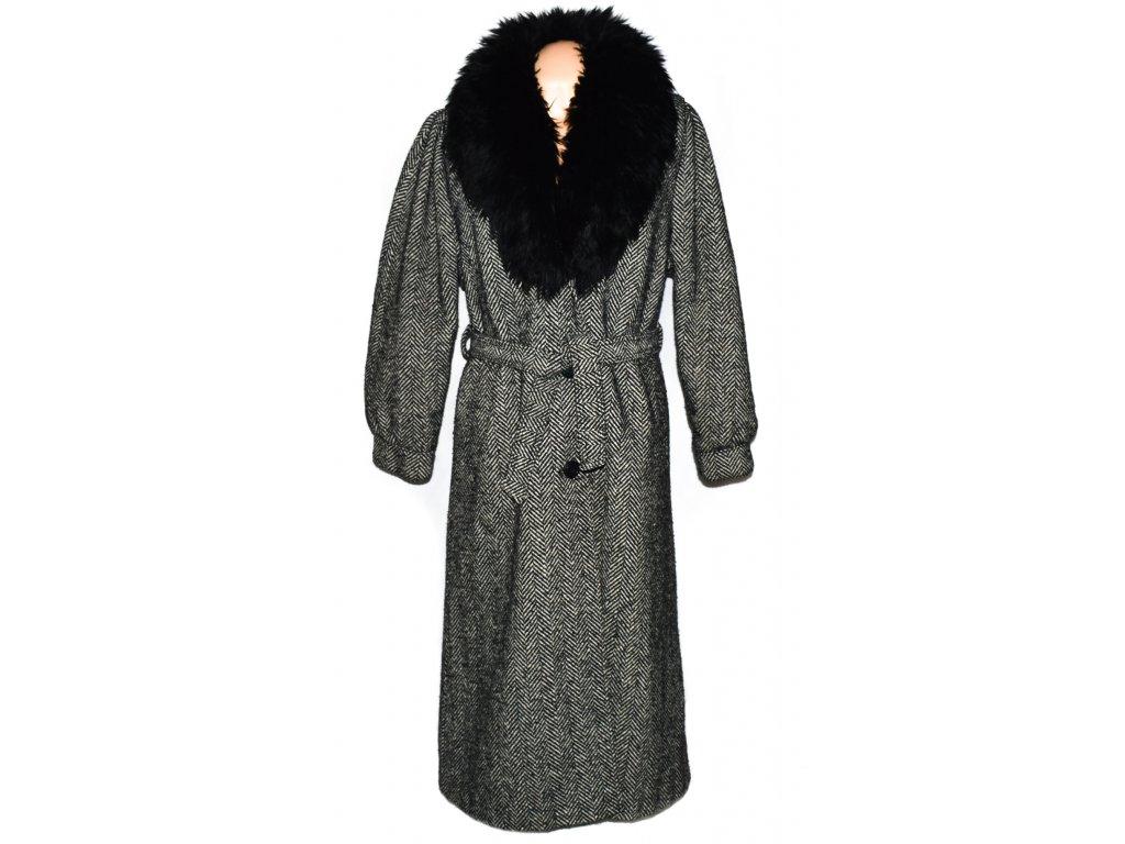 Vlněný dámský zimní dlouhý černobílý kabát s páskem a kožíškem Lebek 42