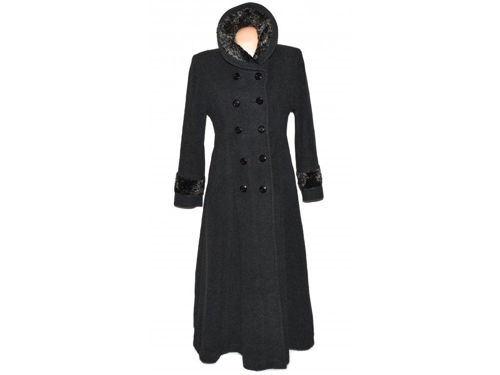 Vlněný dámský šedý dlouhý zateplený kabát Adrianno Damianii (vlna, kašmír) M