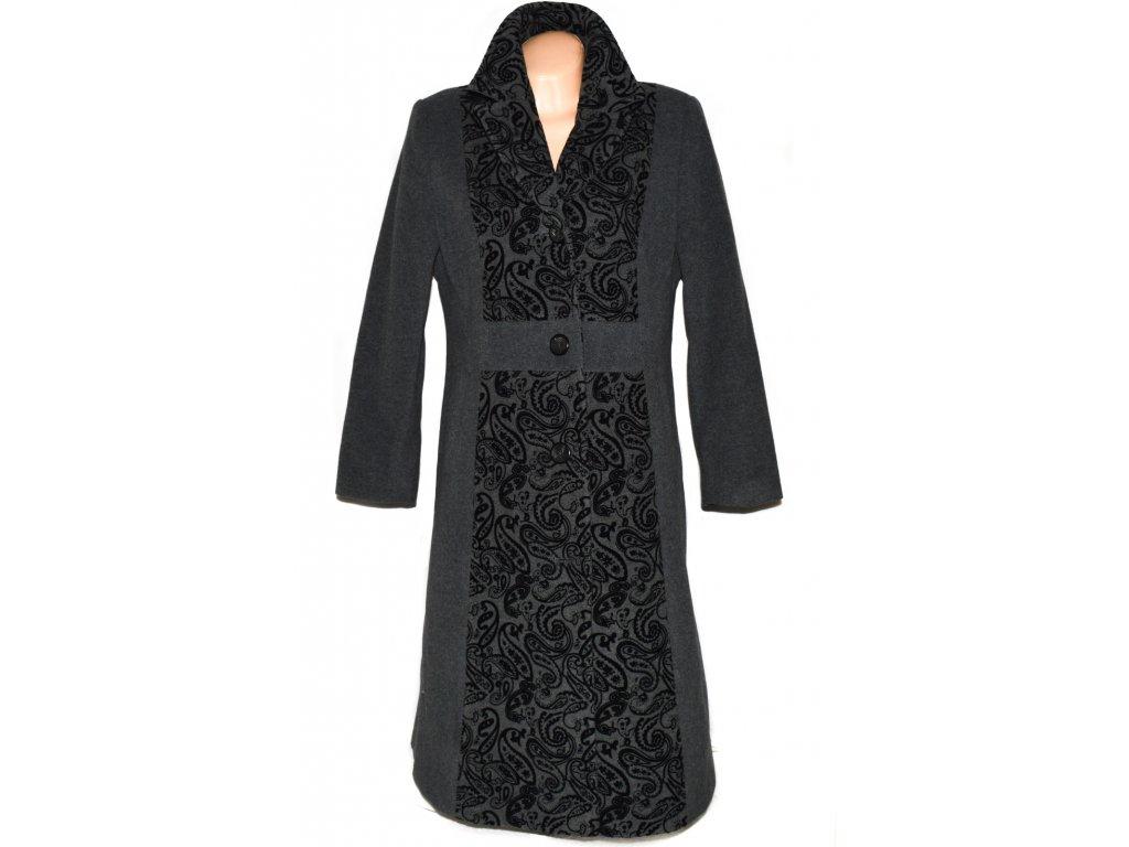 Vlněný (70%) dámský šedý dlouhý kabát ODEMA (vlna, kašmír) XXL