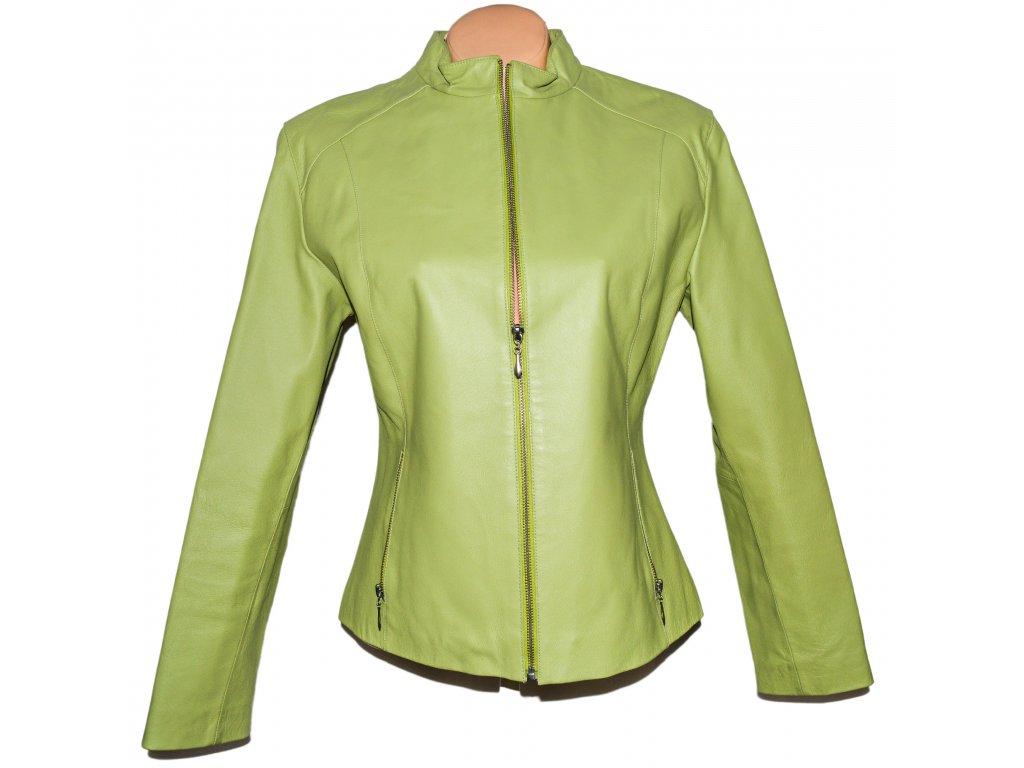 KOŽENÁ dámská měkká zelená bunda na zip Martinek L