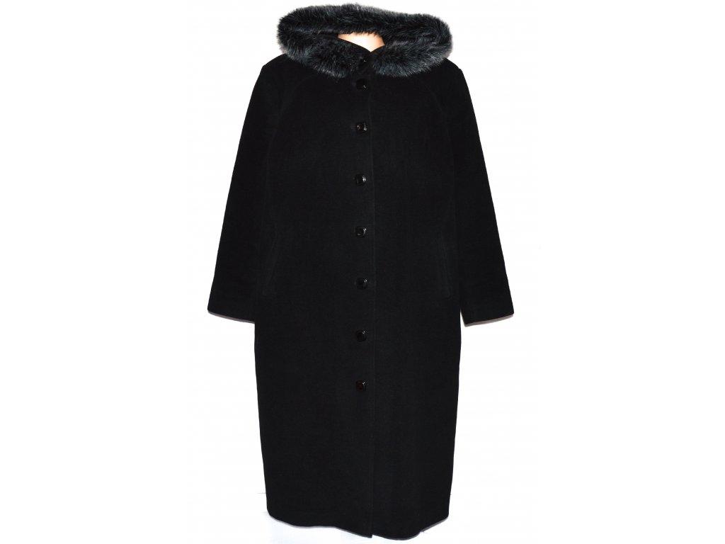 Vlněný (75%) dámský černý dlouhý kabát s kapucí Paul Delvaux (vlna, kašmír) 54