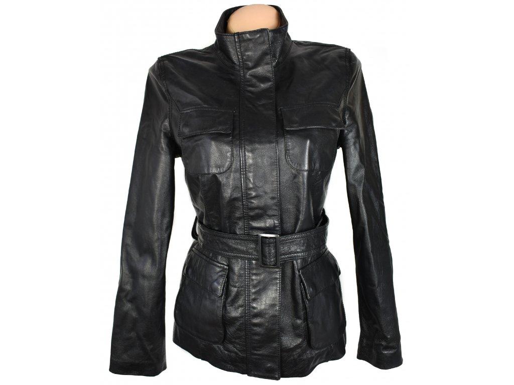 KOŽENÝ dámský černý měkký kabát s páskem F&F M
