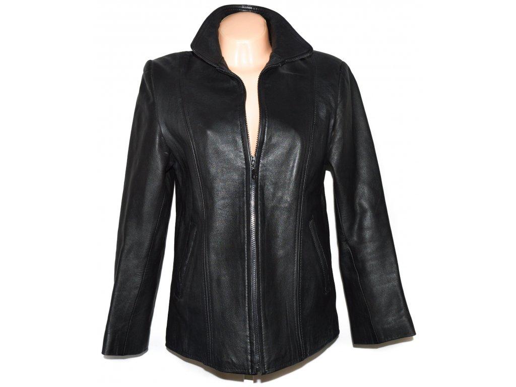 KOŽENÁ dámská černá měkká bunda na zip L