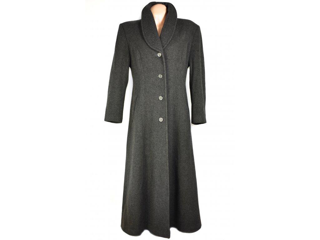 Vlněný (75%) dámský šedý dlouhý kabát Albert Fashion (vlna, kašmír) XL
