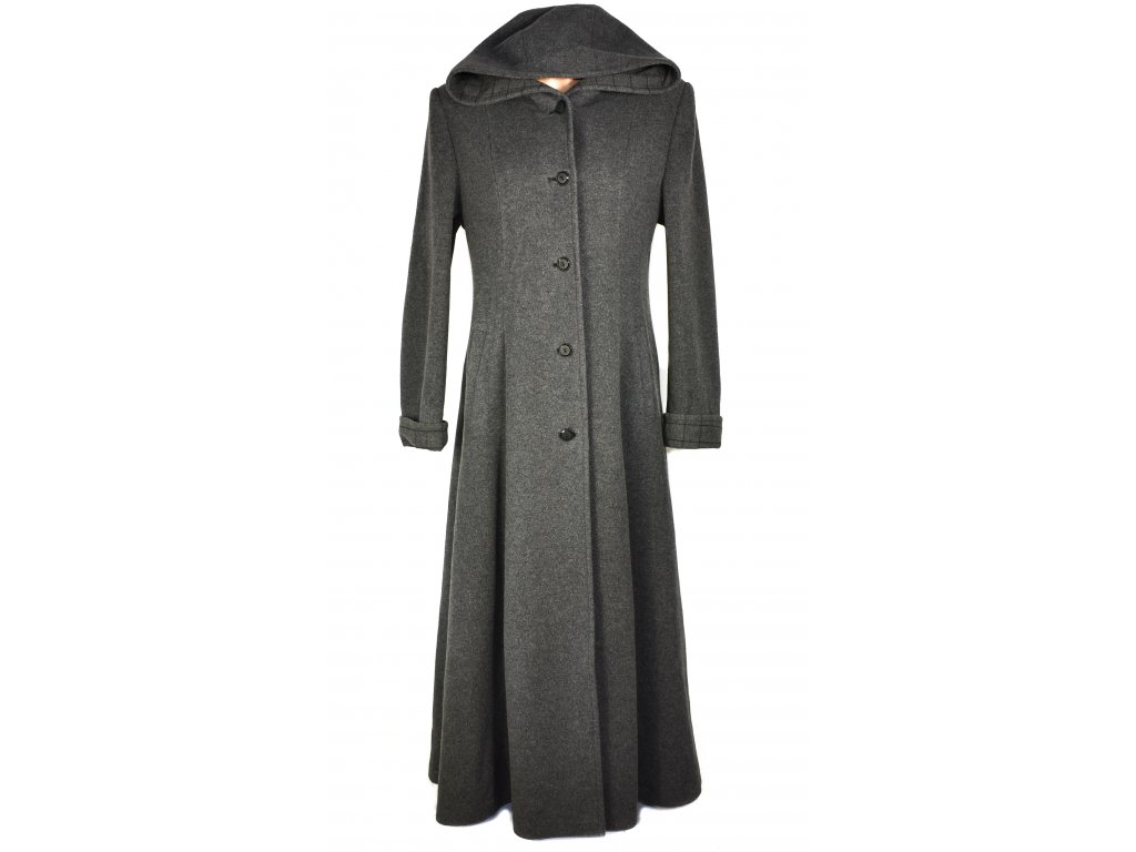 Vlněný (70%) dámský dlouhý šedý kabát s kapucí JB (vlna, kašmír) L