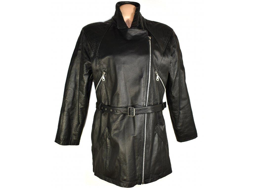 KOŽENÝ dámský černý měkký křivák - kabát s páskem Woodpecker XXL