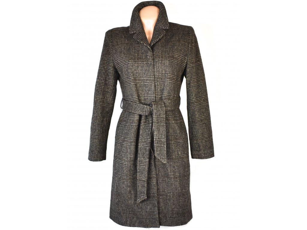 Vlněný (80%) dámský hnědo-béžový kabát s páskem My Diary 36