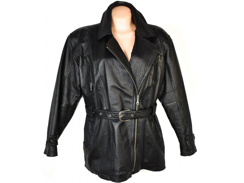 KOŽENÝ dámský černý měkký zateplený křivák - kabát s páskem XXL