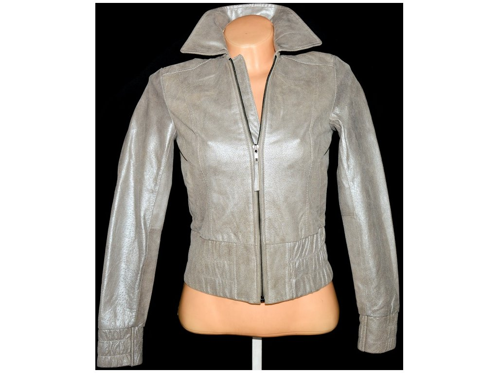 KOŽENÁ dámská stříbrná bunda na zip VERO MODA XS