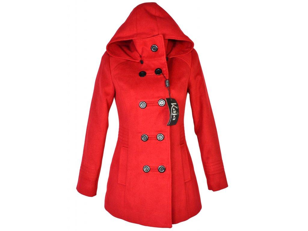 Vlněný dámský červený zateplený kabát s kapucí KAJA (vlna, kašmír) S - s cedulkou