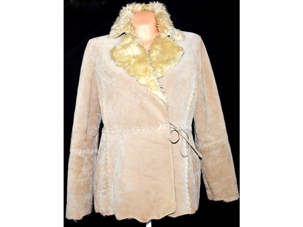 KOŽENÁ dámská béžová bunda s kožíškem uvnitř L