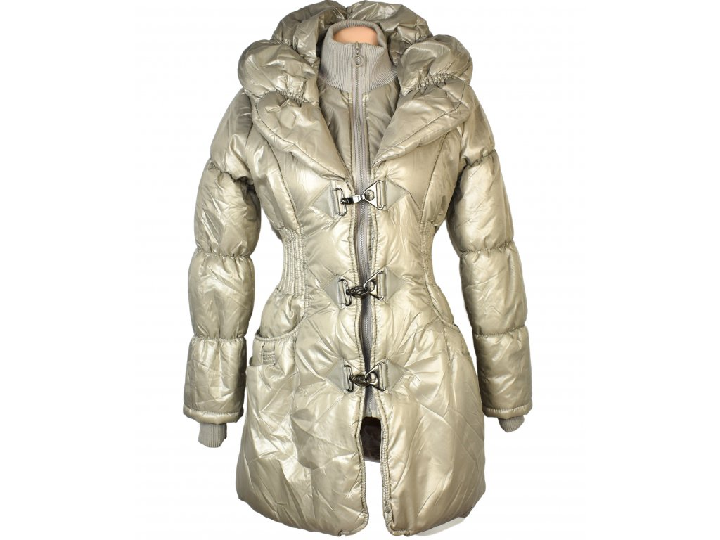 Dámský prošívaný zlatý kabát na zip, karabinky s límcem SOFTY M