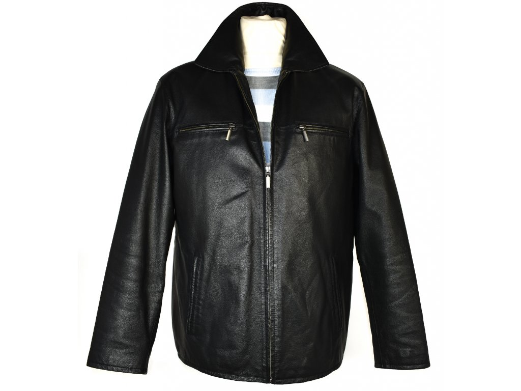 KOŽENÁ pánská černá měkká zateplená bunda na zip Angelo Litrico M
