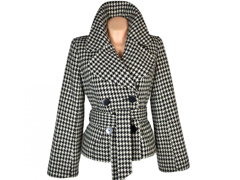 Vlněný dámský černobílý kabát s páskem - kohoutí stopa Dorothy Perkins 12/40