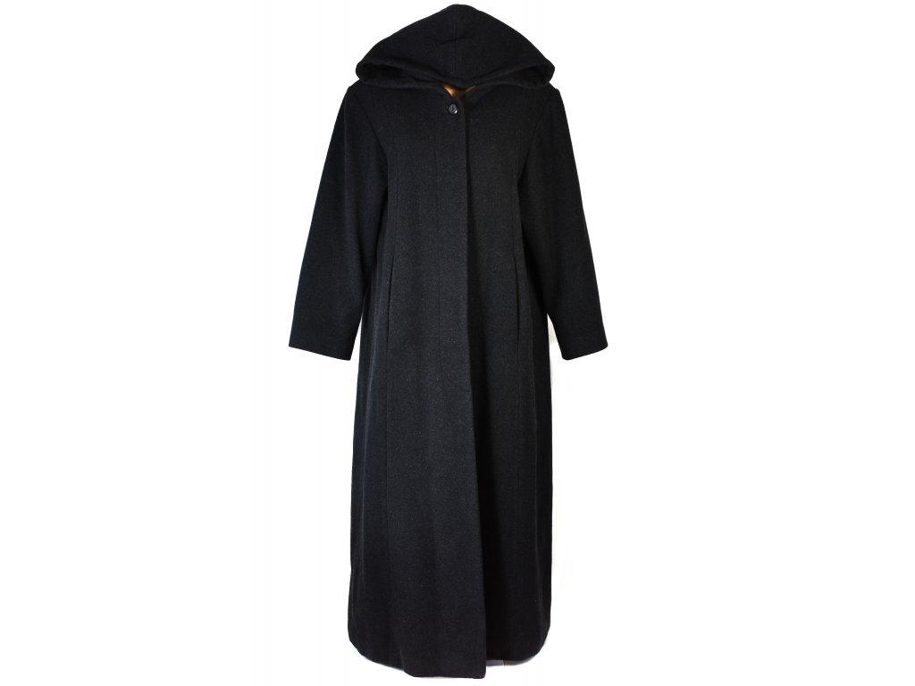 Vlněný (80%) dámský šedočerný dlouhý kabát Fashion Studio XL