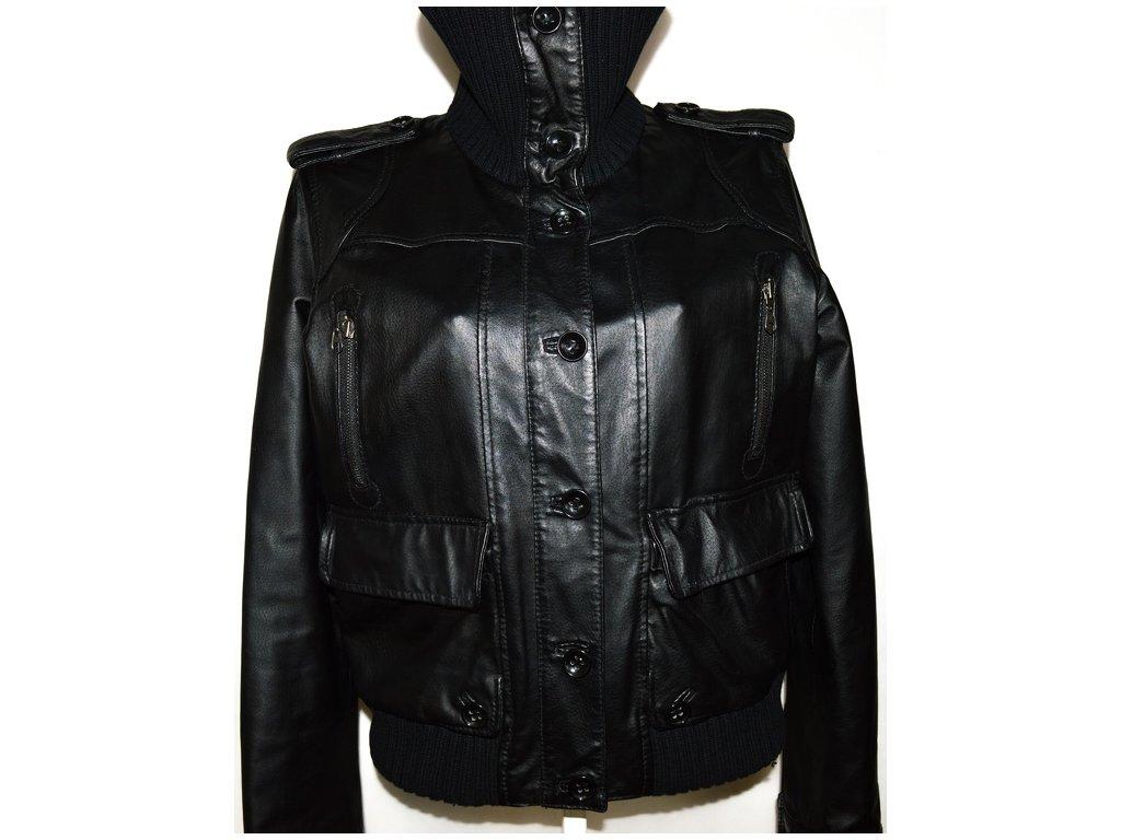 KOŽENÁ dámská černá bunda na zip,knoflíky Baťa XXL