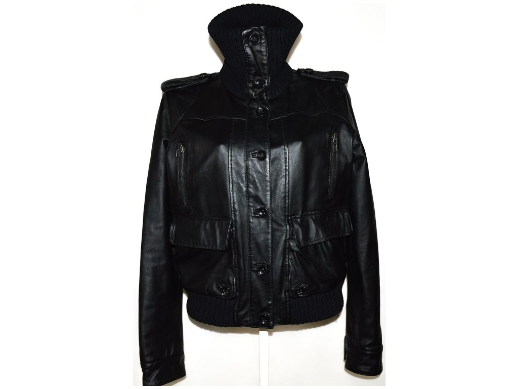 KOŽENÁ dámská černá bunda na zip,knoflíky Baťa XXL 2