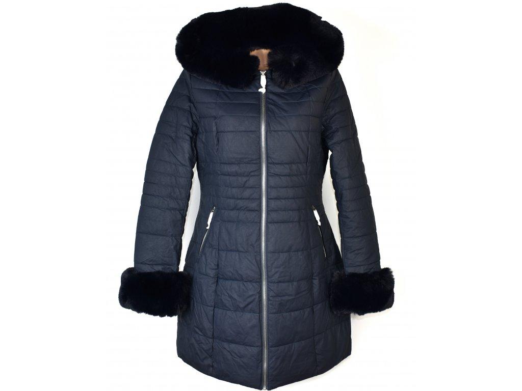 Dámský prošívaný tmavě modrý kabát s kapucí L - s cedulkou