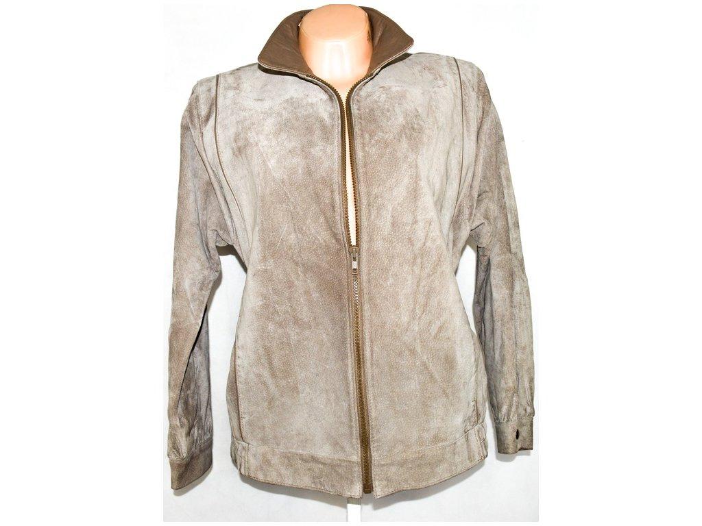 KOŽENÁ dámská broušená béžová bunda na zip Marks&Spencer