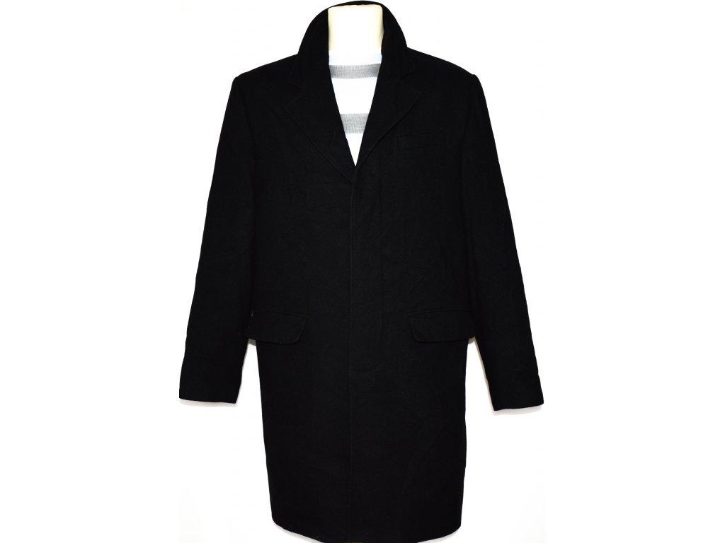 Vlněný (80%) pánský černý kabát vel. M