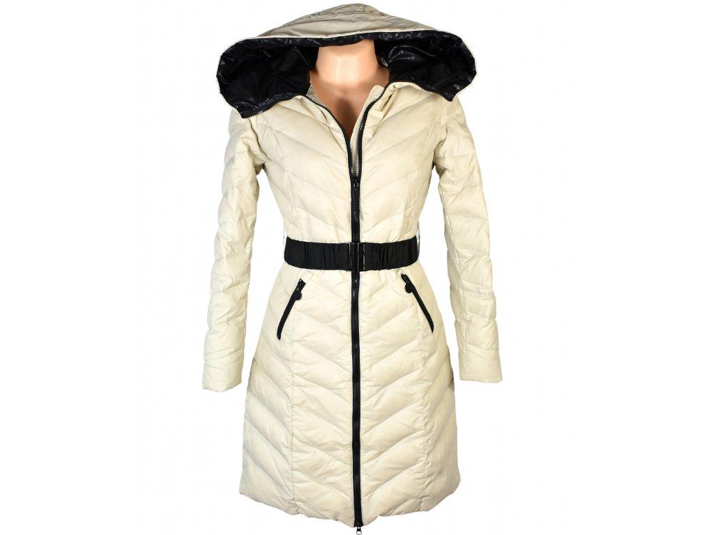Péřový dámský béžový prošívaný kabát s páskem Authority S