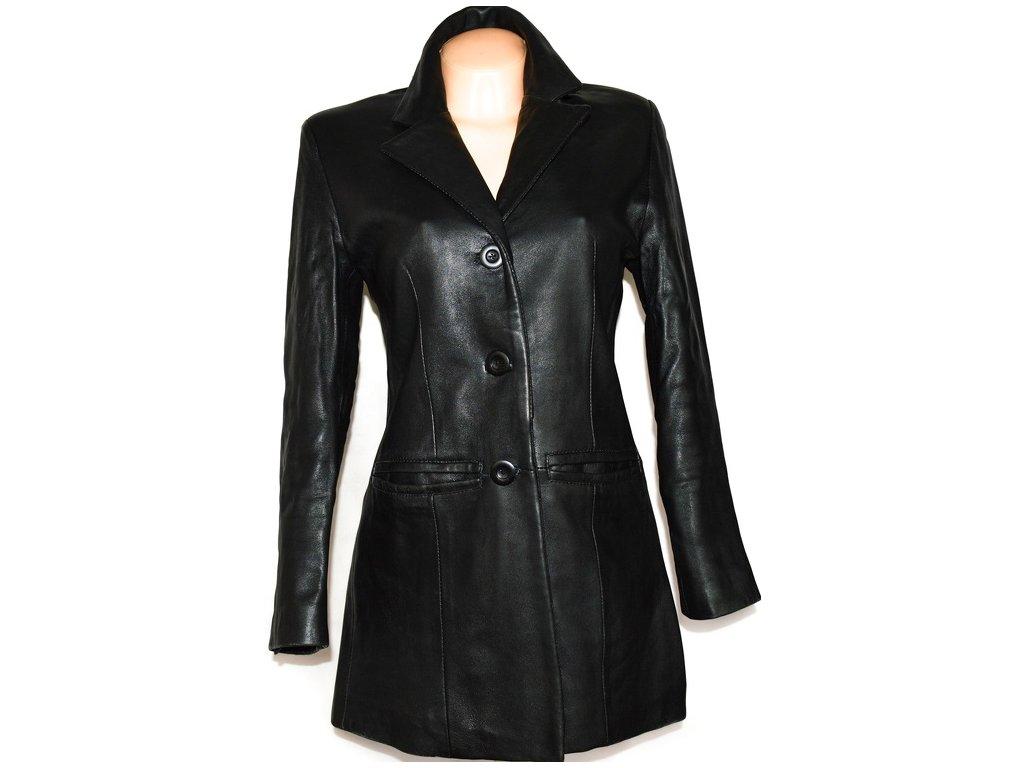 KOŽENÝ dámský měkký černý kabát vel. M