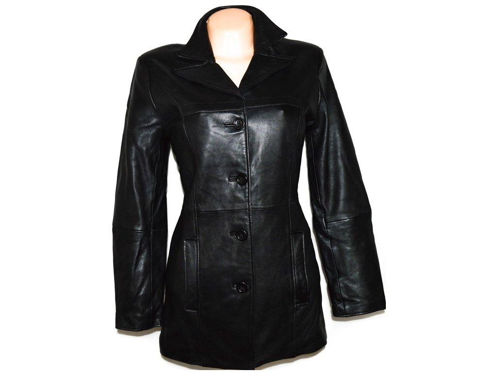 KOŽENÝ dámský černý zateplený měkký kabát M