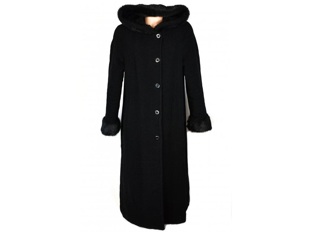 Vlněný dámský dlouhý zateplený černý kabát XXL