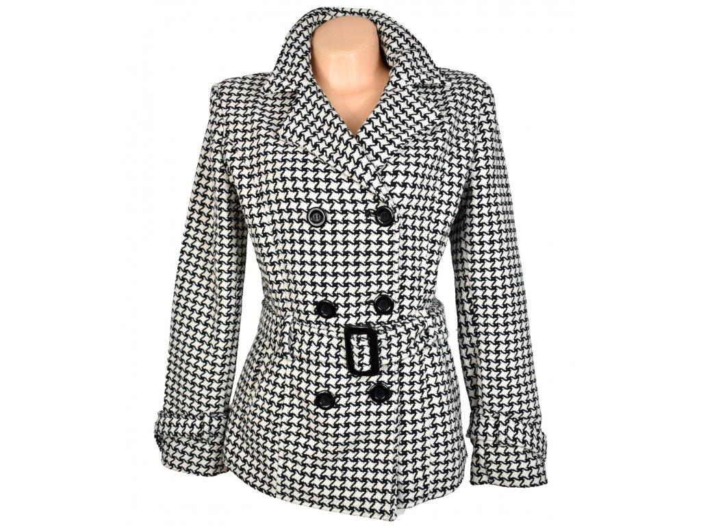 Dámský černobílý kabát s páskem L/XL