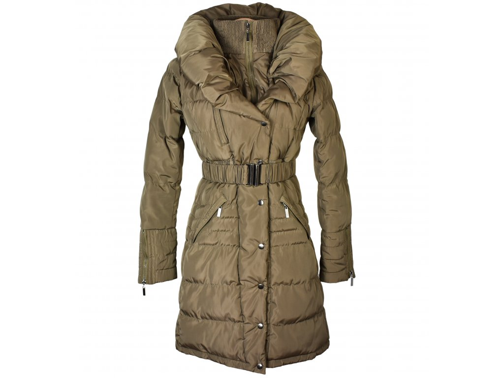 Dámský prošívaný kabát s páskem a límcem Dromedar M