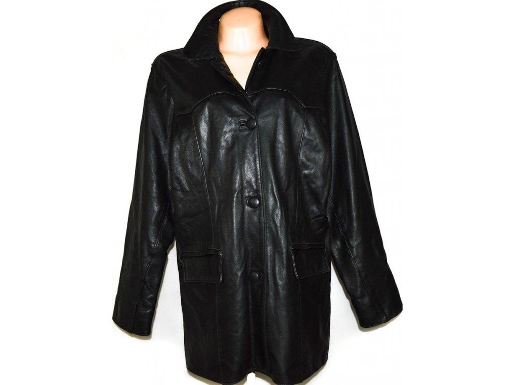 KOŽENÝ dámský černý měkký kabát XL