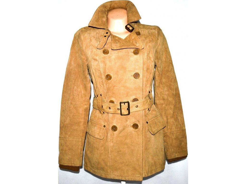KOŽENÝ dámský broušený hnědý kabát s páskem STRADIVARIUS