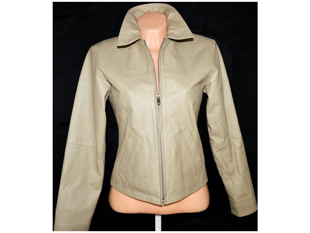 KOŽENÁ dámská béžová bunda na zip TRACTION vel. M