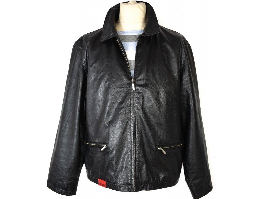 KOŽENÁ pánská černá měkká bunda na zip Offset XL