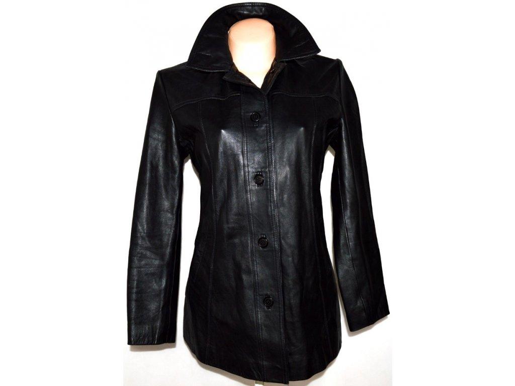 KOŽENÝ dámský měkký černý kabát ICON L