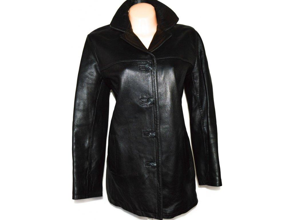 KOŽENÝ dámský černý měkký kabát XL 2