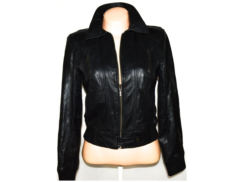 KOŽENÁ dámská černá měkká bunda na zip OASIS M