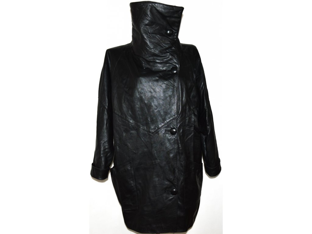 KOŽENÝ dámský měkký černý kabát s límcem XXL