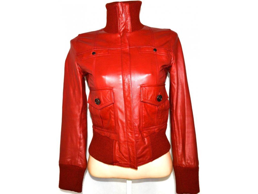KOŽENÁ dámská červená měkká bunda MANGO vel. S
