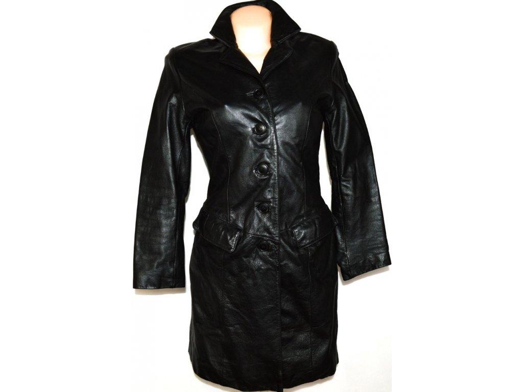 KOŽENÝ dámský černý kabát vel. 36