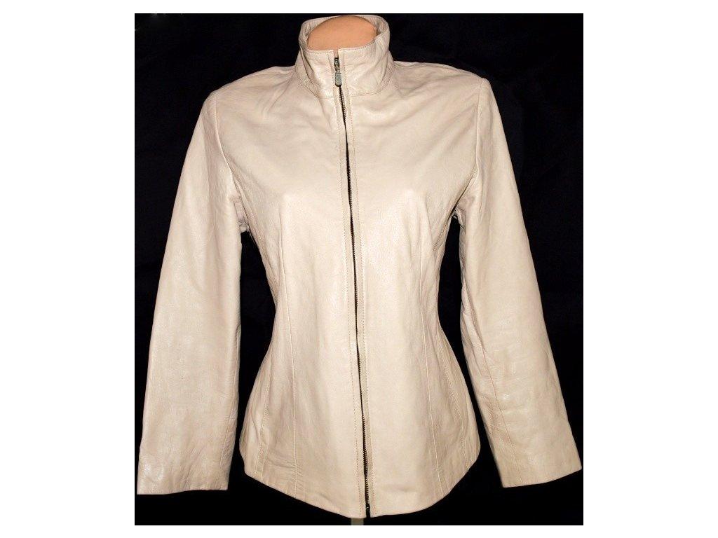 KOŽENÁ dámská měkká béžová bunda na zip LAKELAND