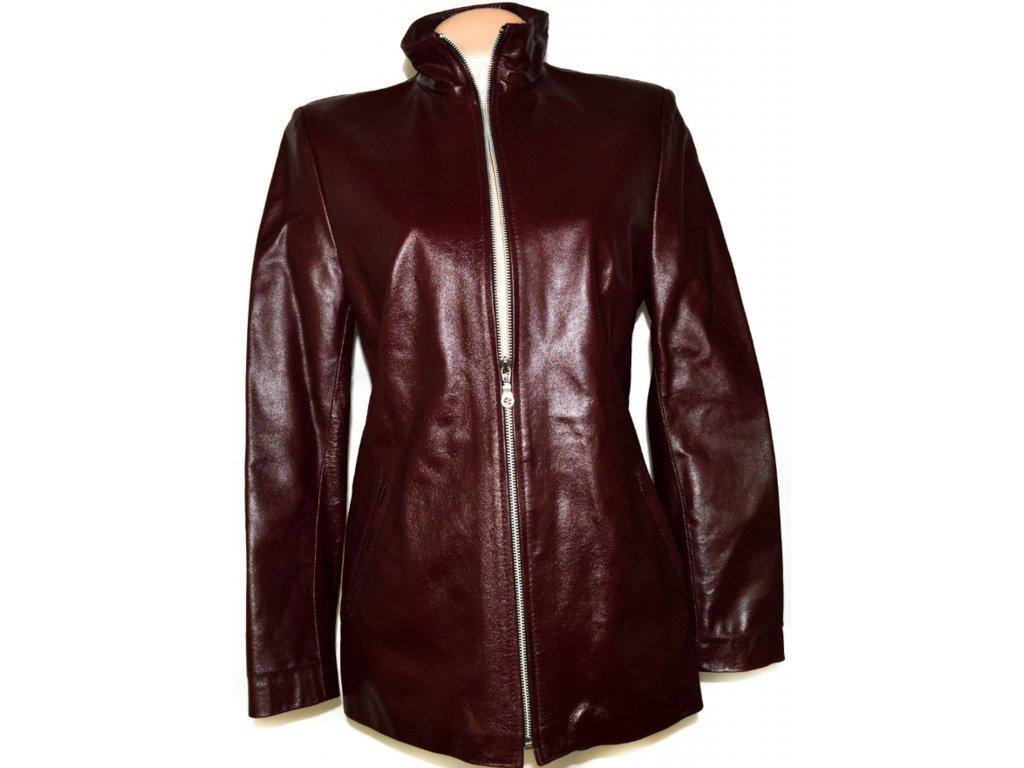 KOŽENÝ dámský vínový kabát na zip vel. L