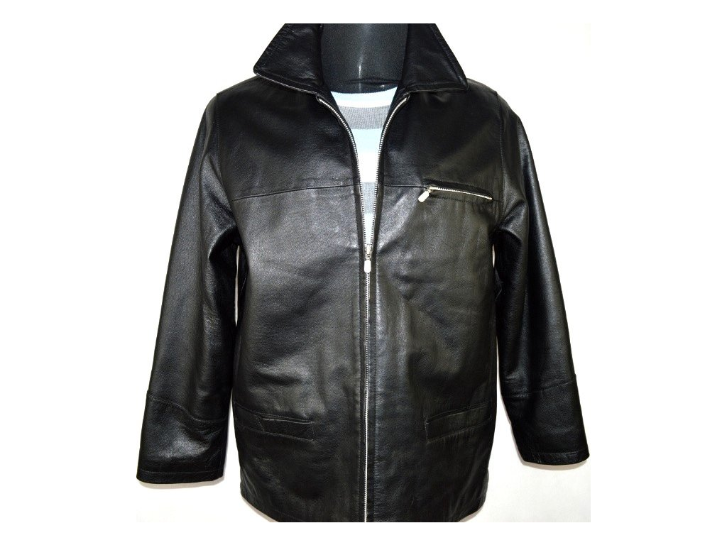 KOŽENÁ pánská černá měkká bunda na zip AVITANO vel. M
