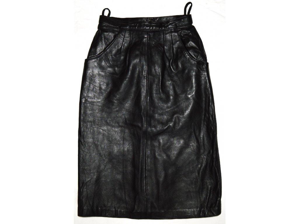 KOŽENÁ dámská měkká černá sukně UK 10