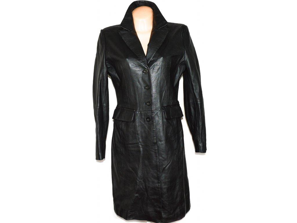 Dámský dlouhý měkký černý kožený kabát UK 12/ L