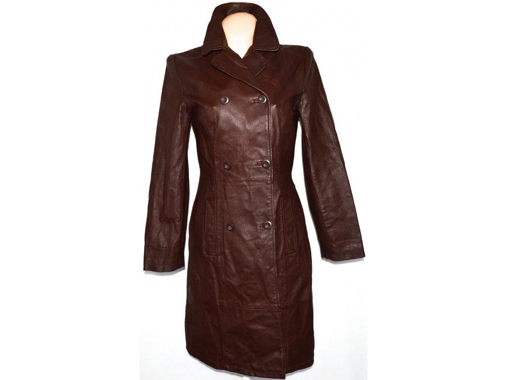 KOŽENÝ dámský dlouhý hnědý kabát CLOCKHOUSE 12/38