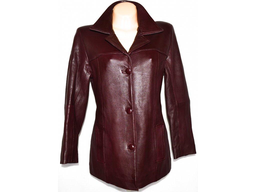 KOŽENÝ dámský měkký vínový kabát vel. L