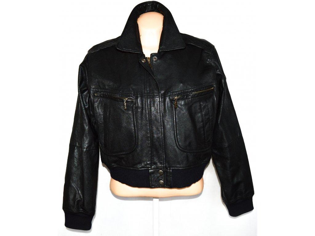 KOŽENÁ dámská černá bunda - pilotka na zip L